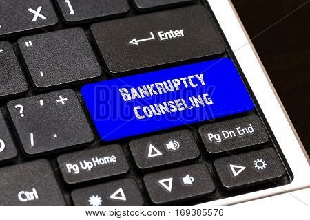 Business Concept - Blue Bankruptcy Counseling Button On Slim