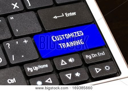 Business Concept - Blue Customized Training Button On Slim