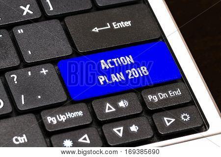 Business Concept - Blueaction Plan 2018 Button On Slim