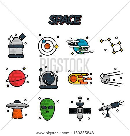 Space flat icons set. Vector illustration, EPS 10