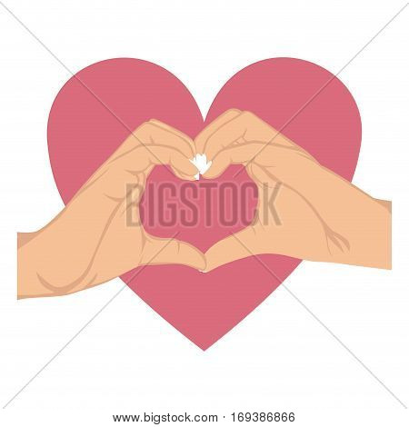 hands in shape of heart in symbol support breast cancer and big heart vector illustration