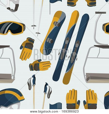 Skiing equipment icons pattern. Set skis and ski poles. Winter equipment icons family vacation, activity or travel skiing equipment. Winter sport mountain skiing cold recreation. Skiing equipment.
