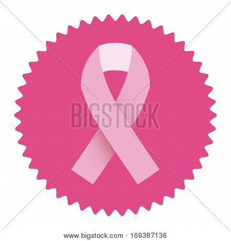 ribbon pink symbol of breast cancer in round frame vector illustration