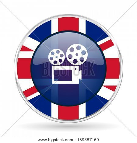 movie british design icon - round silver metallic border button with Great Britain flag