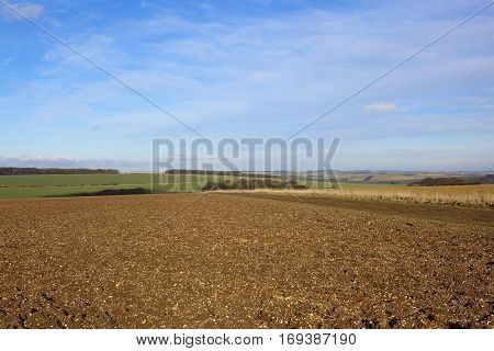 Plow Soil In A Winter Landscape