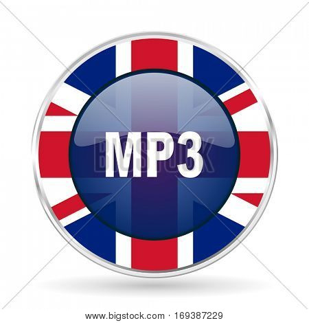 mp3 british design icon - round silver metallic border button with Great Britain flag