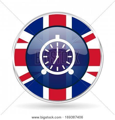 alarm british design icon - round silver metallic border button with Great Britain flag