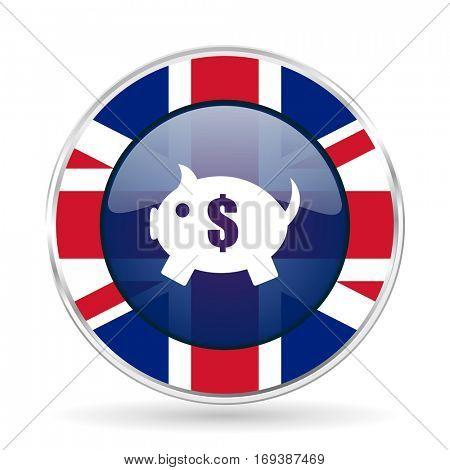 piggy bank british design icon - round silver metallic border button with Great Britain flag