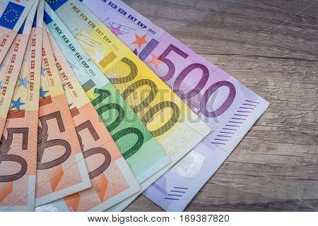 Euro Money: Closeup Of 500 200 100 50 20 Banknotes.