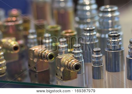 Metal fittings on the counter closeup. Industry