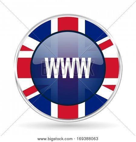 www british design icon - round silver metallic border button with Great Britain flag