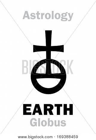 Astrology Alphabet: Sign of EARTH (Globe/Orb). Hieroglyphics character sign (single symbol).