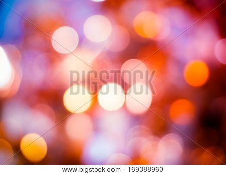 Abstract colorful blur de focused background black, soft focus / De focused blue and white bokeh twinkling lights background