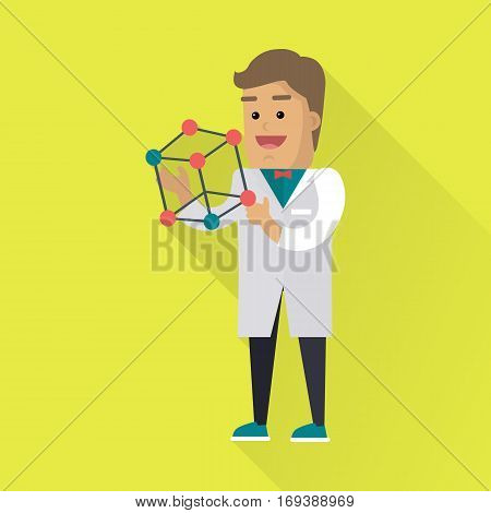 Scientist at work illustration. Vector in flat style. Scientific icon. Male character in white gown standing with atom structure in hand. Educational demonstration. On yellow background with shadow
