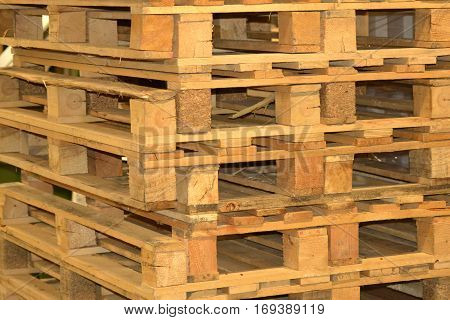Background with a Wooden Pallets logistics concept