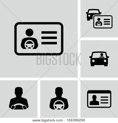 Driver license vector icons