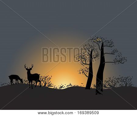 Tranquil silhouette of trees and animals on a sunset sky scene in nature
