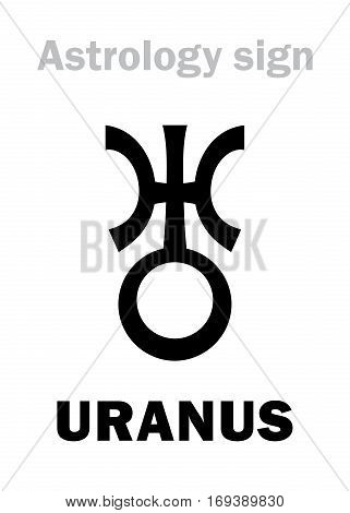 Astrology Alphabet: URANUS higher global planet. Hieroglyphics character sign (single symbol).