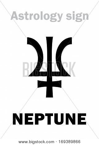 Astrology Alphabet: NEPTUNE (Poseidon) higher global planet. Hieroglyphics character sign (single symbol).