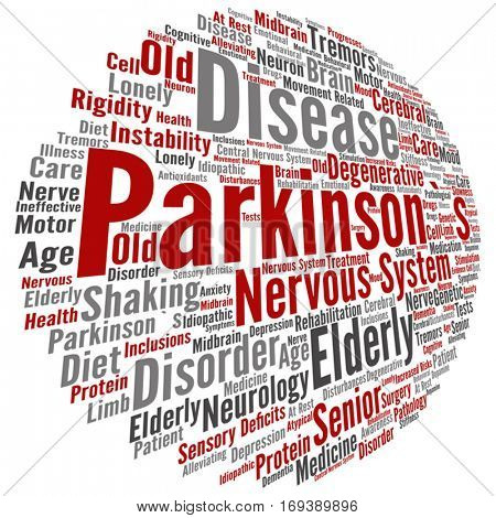 Vector concept conceptual Parkinson`s disease healthcare or nervous system disorder abstract word cloud isolated on background metaphor to healthcare, illness, degenerative, genetic, symptom or brain