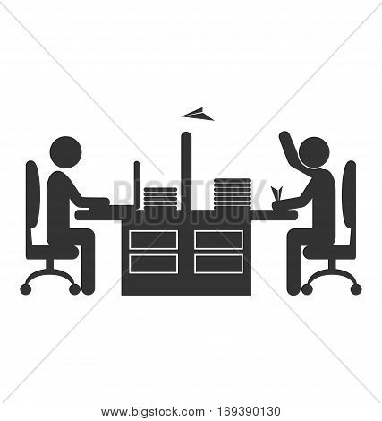 Flat office icon worker with paper plane isolated on white background