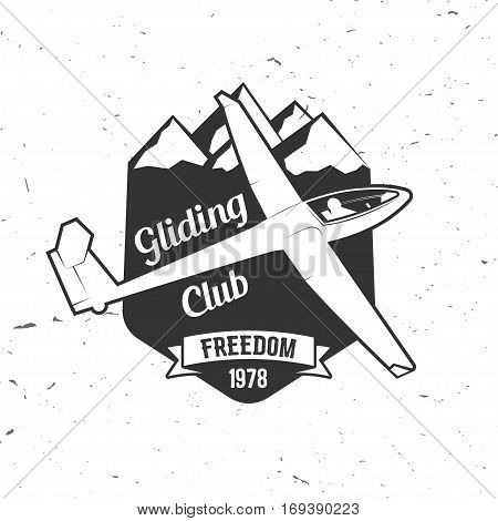 Vector Gliding club retro badge. Concept for shirt, print, seal, overlay or stamp. Typography design- stock vector. Soaring club design with glider silhouette.