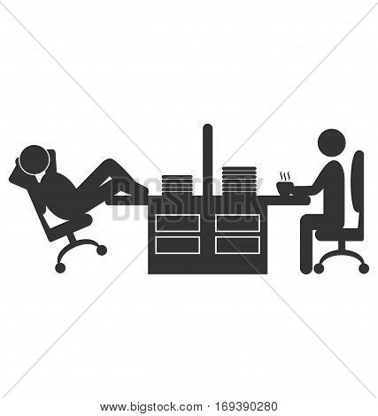 Flat office icon with workers on coffee break isolated on white background
