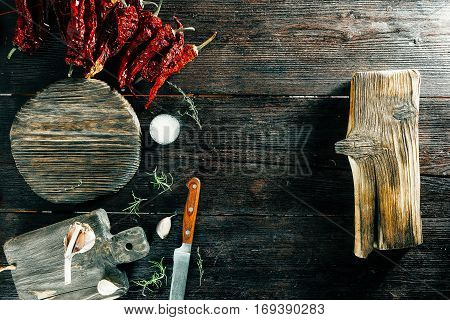 Cutting boards and knife, spices and condiments. Cooking frame
