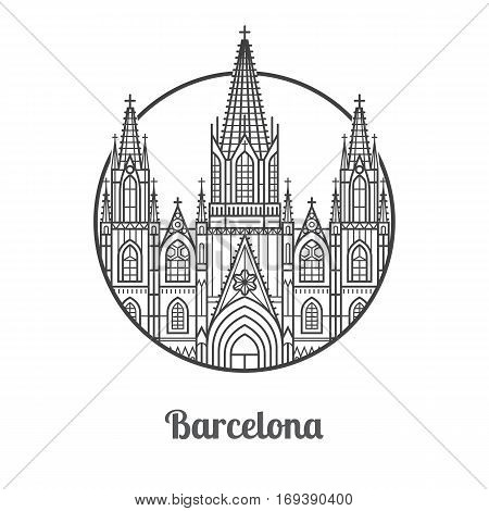 Travel Barcelona icon with abstract gothic cathedral. Thin line catholic church icon in circle.