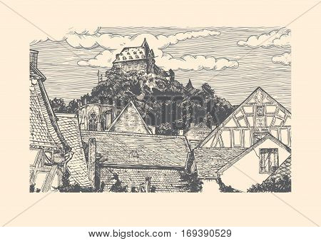 Vector illustration of old town landscape in vintage etching style. Timber-frame houses is on front Wernerkapelle and Stahleck Castle on the back. Bacharach Rhine Gorge Rhineland-Palatinate Germany.