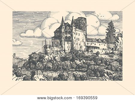 Vector illustration of medieval Katz Castle in vintage etching style. Sankt Goarshausen Rhine Gorge Rhineland-Palatinate Germany.
