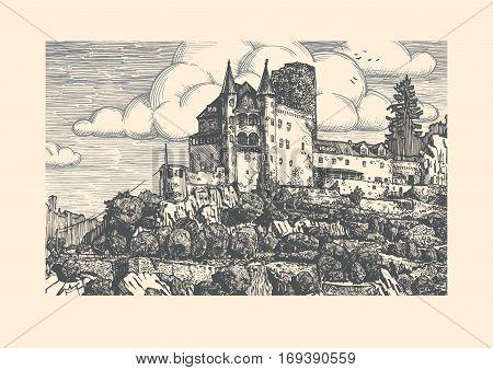 Vector illustration of medieval Katz Castle in vintage etching style. Sankt Goarshausen Rhine Gorge Rhineland-Palatinate Germany.