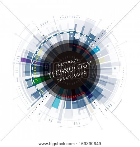 Abstract digital technology circular background.