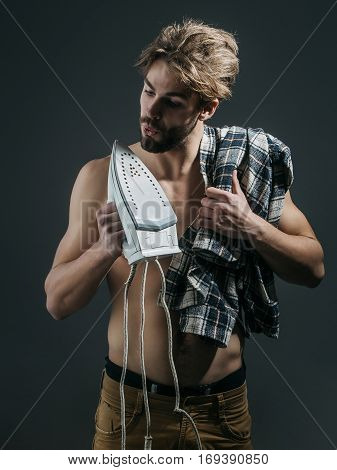 Sexy Topless Man With Iron