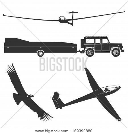 Set of vintage gliding elements and equipment. Vector illustration.