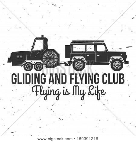 Vector Gliding club retro badge. Concept for shirt, print, seal, overlay or stamp. Typography design- stock vector. Soaring club design with Glider Winches silhouette.