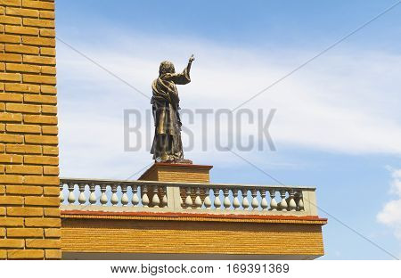 Aparecida, Brazil - January 15, 2017: Statue of an Apostle in detail - Basilica of Our Lady Aparecida - artist Alexandre Morais