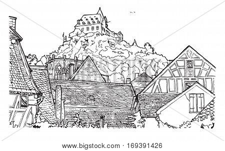 Vector illustration of old town landscape in coloring book style. Timber-frame houses is on front Wernerkapelle and Stahleck Castle on the back. Bacharach Rhine Gorge Rhineland-Palatinate Germany.