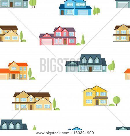 Suburban houses seamless pattern. Vector illustration. American houses seamless pattern.
