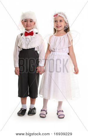 funny young couple on white