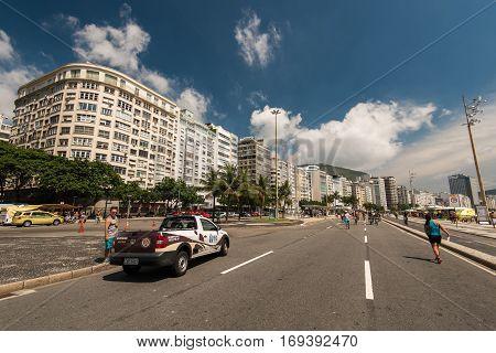 Rio de Janeiro, Brazil - January 15, 2017:Hotel and apartment buildings at Avenida Atlantica avenue in Copacabana beach.