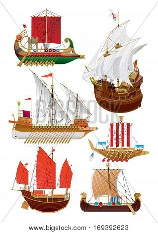 Vector illustration set of vintage sailing ships. phoenician ship - bireme galleon galley chinese ship - junk viking ship - drakkar. isolated on white.