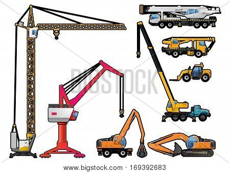 vector illustration set of different modern crane forklift and excavator. isolated on white background.