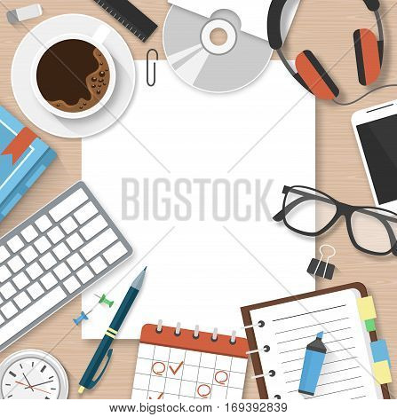 Workplace Workspace Concept Background with Office Supplies Manager Table