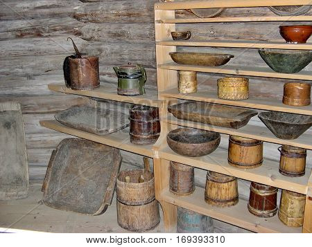 Taltsy, Lake Baikal, Russia - August 30, 2016: House utensils.Closeup. Inside in  in a village hut. In Siberian village. Ethnographic Open-Air Museum