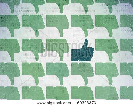 Social media concept: rows of Painted green thumb down icons around blue thumb up icon on Digital Data Paper background