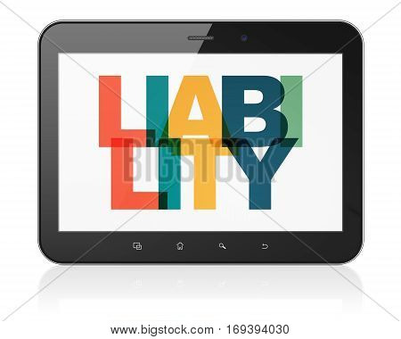 Insurance concept: Tablet Computer with Painted multicolor text Liability on display, 3D rendering