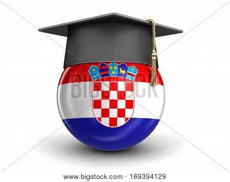 3D Illustration. Graduation cap and Croatian flag. Image with clipping path