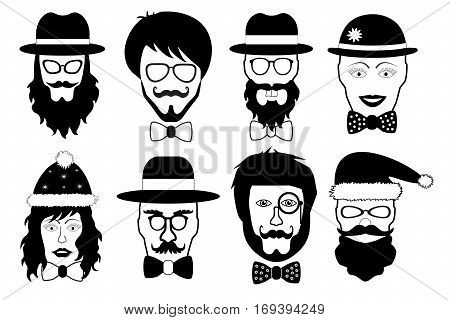 set face fake person hipster head silhouette isolated vector illustration