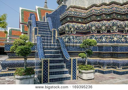 Thailand Bangkok. Temple of the Reclining Buddha (Wat Pho). Blue big chedi (mortar) built in honor of Xi Suryathay - Queen Ayuthaya.